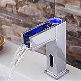 JRUIA Automatischer IR Infrarot Bad Wasserhahn LED Wasserfall Waschtischarmatur Mischbatterie