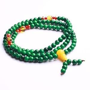 Qiyun 6mm Vert Jade priere Mala meditation bouddhiste perle collier bracelet