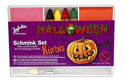 Schmink-Set Kürbis, Halloween Schminke, mit Schminkstiften, Pinsel, von Jofrika (Kürbis Schminken Für Halloween)