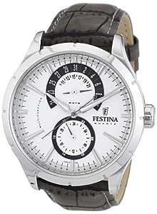Festina - F16573/2 - Montre Homme - Quartz Analogique - Bracelet Cuir Gris