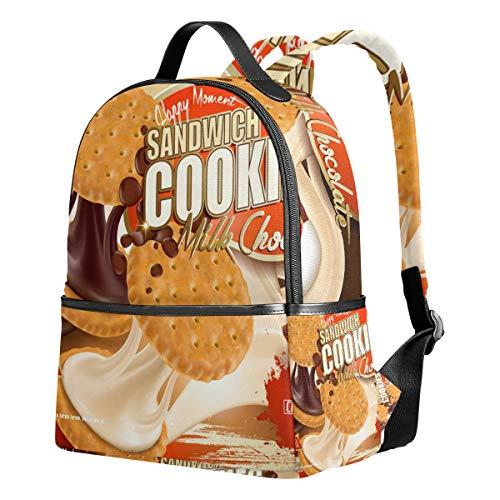 Ahomy Schulrucksäcke Schokolade Milk Cookies Rucksack Schultertasche für Mädchen Jungen