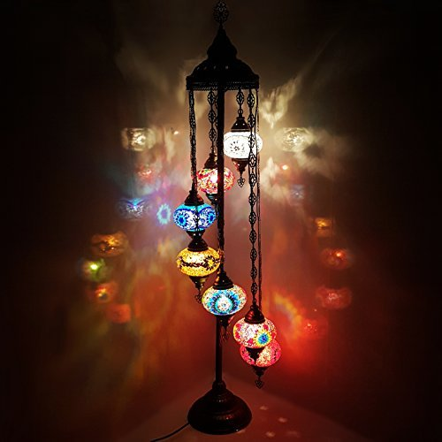 Turkish Moroccan Tiffany Style Glass Mosaic Floor Lamp Night Light - MC X 7B_FLR LAMP**