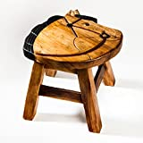 Robuster Kinderhocker/Kinderstuhl massiv aus Holz mit Tiermotiv Pferd, 25 cm Sitzhöhe