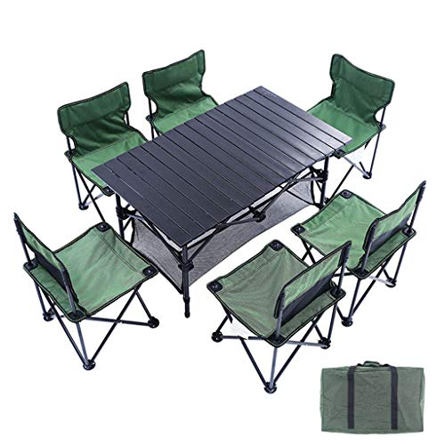 AQUYY 6 Personen Klapp Camping Tisch Und Stuhl Set, Tragbares Leichtgewicht, Mit 6 Stühlen, Geeignet Für Outdoor, Camping, Picknick, Barbecue, Party Und Catering - Klapp Strand Camping Stuhl