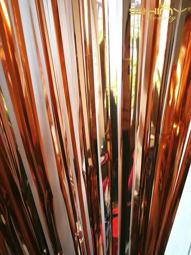 ShinyBeauty - Cortina flecos lámina oro rosa 91,44