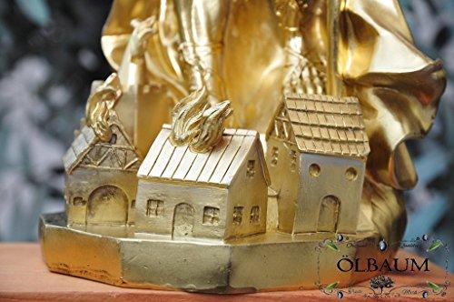 28 - 30 cm,Gold-farben bronziert, PREMIUM - Heiligenfigur Heiliger Florian, mit Wasserkanne und Speer, Schutzpatron der Feuerwehr, der Bäcker, Kaminkehrer / Rauchfangkehrer, Töpfer, Bierbrauer und aller Feuerwehrleute - alle ÖLBAUM HEILIGEN- und Krippenfiguren zeichnen sich durch extrem sauber gearbeitete und präzise Gesichtszüge der Figuren aus, coloriertes Holzfiguren- bzw. Echtholzimitat, schlanke Form, standfest (Bronziert Extreme)