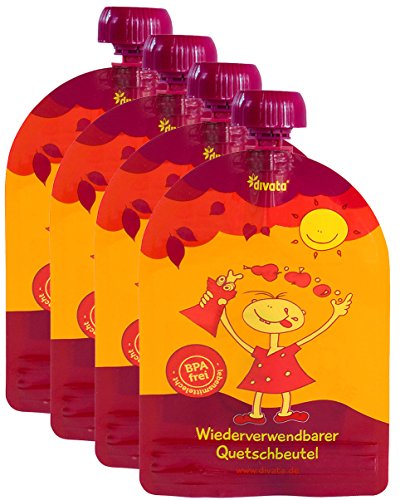 ❤ Wiederverwendbare MINI Quetschies/Quetschbeutel, 100ml (4er Pack) - divata | Kleine Größe - ideal für Babys & Kleinere Kinder