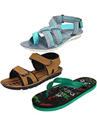 Earton Multicolor Men Combo Pack of 3 Sandals & Floaters with Flip-Flops