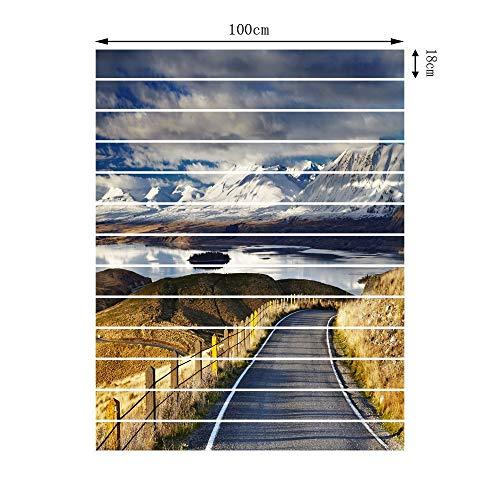 TNFUFPStickers für treppen, 13 stücke 3D Runde Hill Road Schnee Bergsee DIY Treppen Kunstwandbild Walll Aufkleber Schritt Fliesen Dekoration PVC Selbstklebende Boden Poster 18 * 100 cm