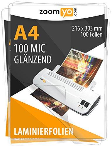 zoomyo Laminierfolien A4 | 100 Stück | 2 x 100 mic | Hochglanz