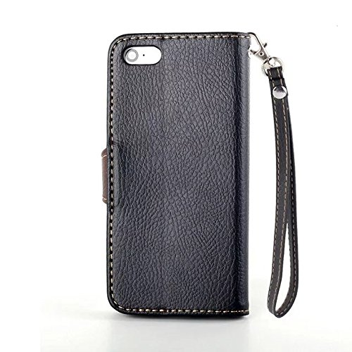 iPhone Case Cover Blatt-Magnetverschluss-Art-erstklassiger PU-lederner Fall-Mappen-Standplatz-Fall mit Handbügel Folio Pretective Fall-Silikon-Abdeckung für IPhone 5 5S SE ( Color : Black , Size : IPh Black