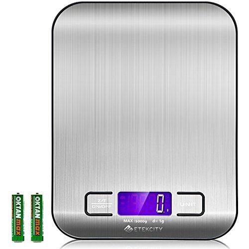 Etekcity Báscula Digital para Cocina de Acero Inoxidable, 5kg / 11 lbs, Balanza de Alimentos Multifuncional, Peso de Cocina, Color Plata (Baterías Incluidas) EK6015