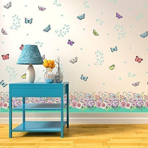Wallflexi parete adesivi murali fiori e farfalle di giunzione smontabile autoadesivo decalcomanie art nursery kindergarden school kids room ristorante bar cafe hotel casa ufficio decorazione
