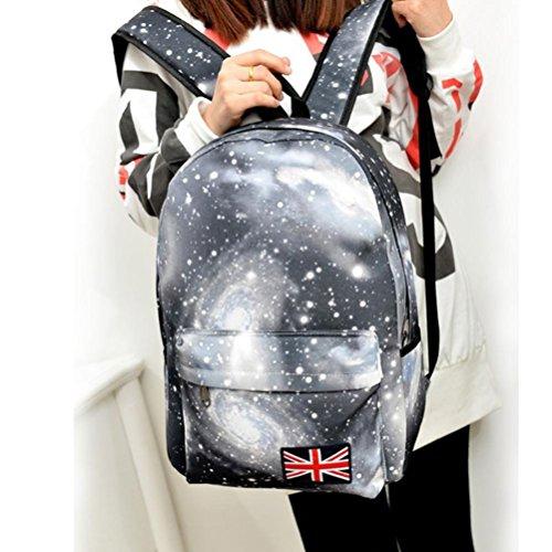 kingko® filles garçons Unisexe Motif Galaxy Voyage Sac à dos en toile Loisirs Sacs Sac école Noir