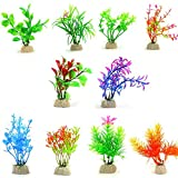 COMSUN 10PZ Pianti Artificiali Acquario, 4 - 5 pollici Decorazione Acquari Multicolore
