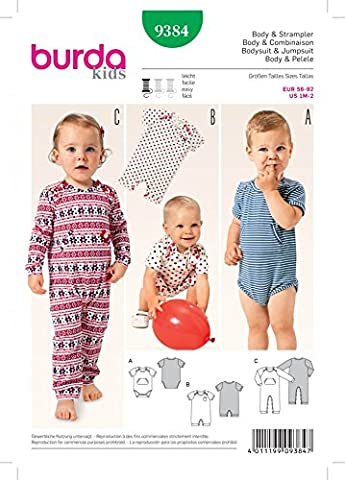Burda Baby Schnittmuster 9384Body und Strampelanzug + Gratis Minerva Crafts