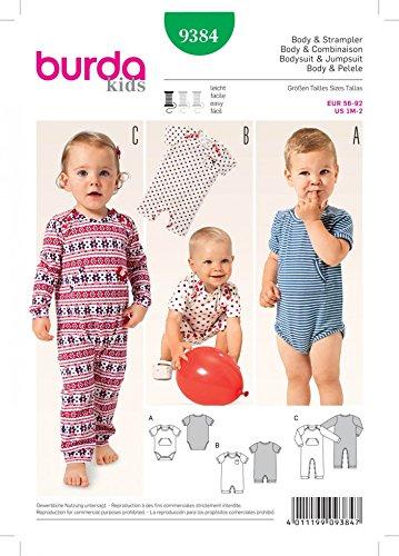 Burda Baby Schnittmuster 9384Body und Strampelanzug + Gratis Minerva Crafts Craft Guide