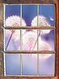 Pusteblumen im morgendlichen Wind Fenster im 3D-Look , Wand- oder Türaufkleber Format: 92x62cm, Wandsticker, Wandtattoo, Wanddekoration