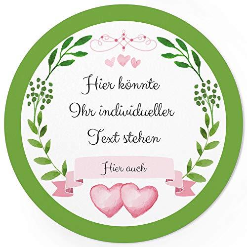 24 PERSONALISIERTE runde Etiketten mit Motiv: 2 Herzen Grüner Kranz mit Herz rosa - Ihre Aufkleber online selbst gestaltet, ganz individuell (Erstellen Eigenen Ihre Sie Aufkleber)