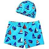 IPBEN Pantaloncini da Bagno Bambino Ragazzini nuotano bauli Nuotare Pugili per Bambini Costume Stampato Dinosauro del Granchio del Fumetto 3D (Sky Blue, 2-3 Years)