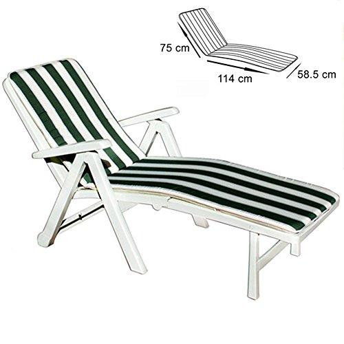 Bakaji cuscino copri sdraio a righe cuscino per lettino prendisole verde bianco pieghevole 100% poliestere comfort modello tenerife misure 75 x 114 x 58,5 cm