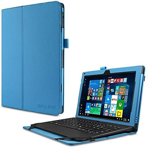 TrekStor SurfTab twin 11.6 Hülle Case -Infiland Slim Fit Folio PU-lederne dünne Kunstleder Schutzhülle Cover Tasche für TrekStor SurfTab twin 11.6 Volks-Tablet, 29,5 cm (11.6 Zoll 2in1 Tablet-PC) (mit Auto Schlaf / Wach Funktion,Tablet und Tastatur sind nicht entgehaltet) (Hellblau)