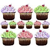 La función de audio en murales rosa y morado Verde carcasa Cupcakes 12 pegatinas decorativas para pared adhesivo