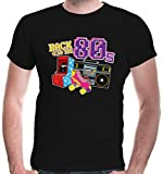 buXsbaum Herren T-Shirt Back to The 80s | 80er Oldschool Party Disco | M, Schwarz