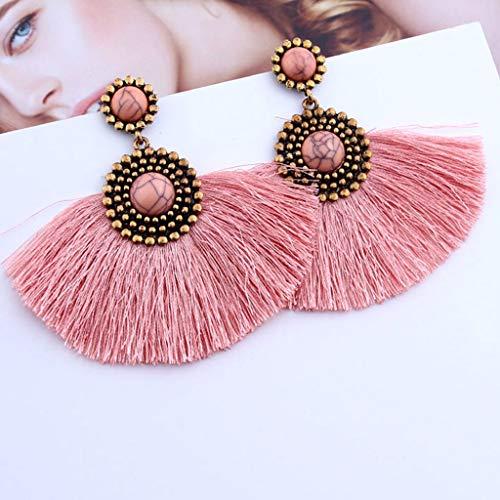 Orecchini donna-TianranRT★ Gioielli da donna con orecchini pendenti geometrici lunghi e turchesi elegante e raffinato raffinatezza,Rosa