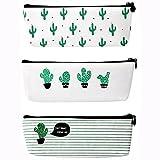 Jansroad Astuccio Scuola, 3 pcs Cactus Pattern Pastorable Tela Sacchetto della Penna della Cassa di Matita, Penna Tasca