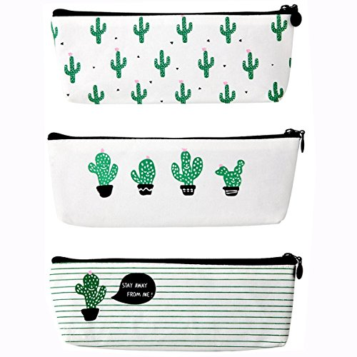 Canvas Pencil Case , Jansroad Cactus Design Pencil Pen Pouch Zipper Closure Cosmetic Makeup Bag Set of 3