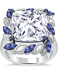 Silvernshine 6Ctw Cushion & Round Cut Tanzanite CZ Diamonds 14K White Gold Plated Engagement Ring
