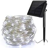Ankway Catena Luminosa Solare 200 LED 8 Modi, 22M Luci Stringa Rame 3 Fili, Luci Stringa Solare Impermeabili, Luce Energia Solare Auto on/off per natalizie Esterno Giardino Feste (bianco freddo)