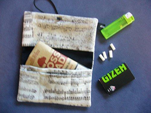 Büroteuse Tabaktasche / Drehertasche im Musiknoten-Design, jede Tasche ein Unikat! beige