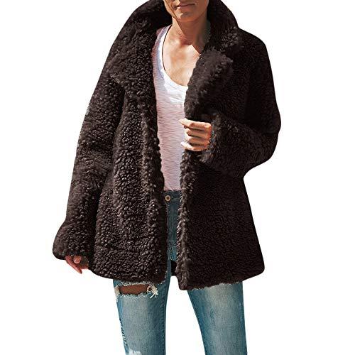 Winterjacke Damen Dasongff Plüschmantel Sweatshirt Rollkragen Cardigan Langärmelige Einfarbige Strickjacke Jacke Faux Fur Overcoat Schwarz Grau Kaffee Faux Fur Hooded Pullover