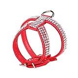 Fdit Hund Rhinestone-Geschirrweste-Haustier-Welpen-justierbares Leder Bling Chest Safety Collar Strap