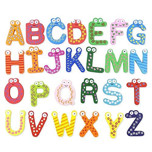 iStary Holz Magnet Buchstaben Kinderspielzeug Cartoon Magnet Buchstaben Alphabet Magnetischen Magnetisch Kinder Buchstaben Aus Holz Mit Anlautbildern Zum Schreiben Lernen, ABC Alphabet -