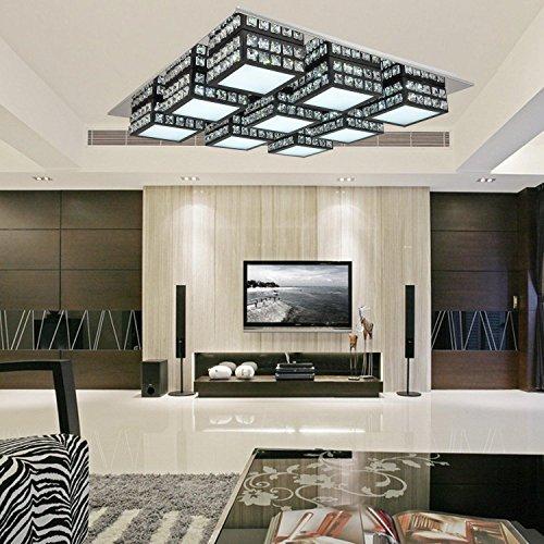Einfache und elegante LED-9-Kopf moderne Kristalldeckenleuchte für Wohnzimmer, LED-Acryl-Schlafzimmer Deckenleuchten (schwarz)