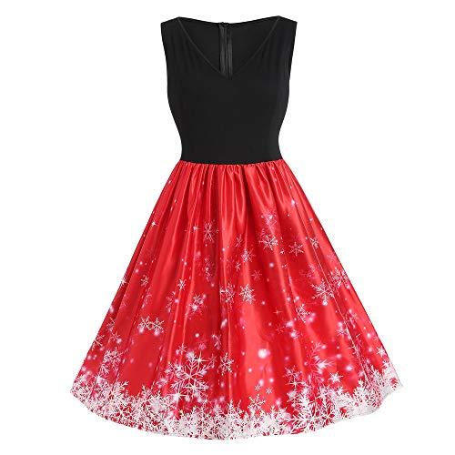 IZHH Damen Vintage Kleider Mode Frauen Geschenk Plus Size Schneeflocke Print V-Ausschnitt Sleeveless Weihnachten Aufflackern Dress Club Festival Karneval Kleid Thanksgiving Gift(Rot,XXXX-Large)