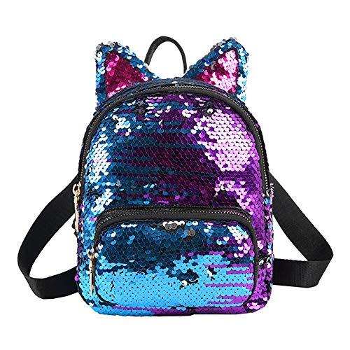 Demiawaking Zaino con Paillettes Glitterati Zainetto Orecchie Gatto Carino Zaino da Viaggio Casual Borsa da Scuola per Bambini Ragazze (Blu+Viola)
