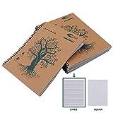 Quaderni Carta Riciclata (5 Pz) - Quaderno Spiralato Block Notes A4 da 60 GSM 160 Pagine (29,9 x 22,7cm) - Quaderno a Righe con Copertina Marrone per Viaggi - Quaderno A4 Ecologico