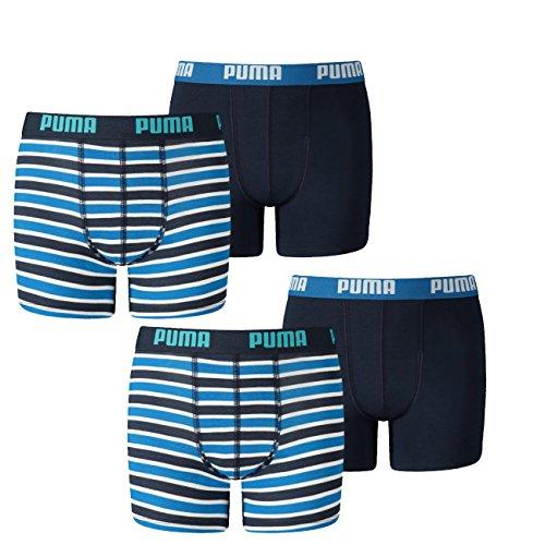 Puma Junior Boys Boxershort Basic Boxer Printed Stripe 4er Pack, Farbe:Blue (056), Grösse:176