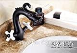 Tougmoo NEUF US Vintage Forme de dragon Bathrom évier lavabo robinet Bronze huilé Blanc Cremaic Poignées
