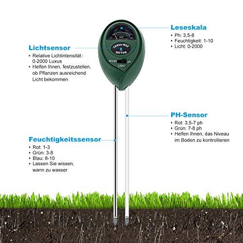 3-in-1 Bodentester, DEEPOW Boden Feuchtigkeit Meter Licht und pH Säure Tester, Digital Bodenmessgerät  für Garten, Pflanzen, Bauernhof, Rasen, Indoor und Outdoor (Keine Batterie