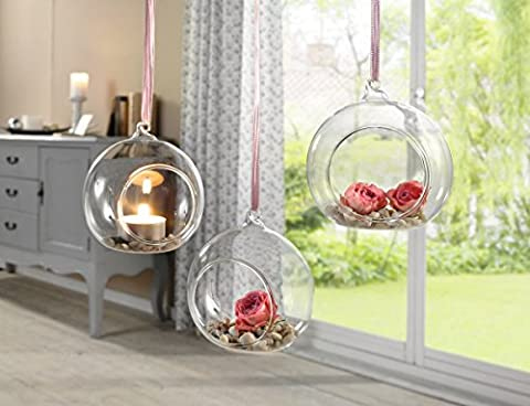 Hanging Glass Plant Flower Vase Bauble Tea Light Candle Holder Clear (Crystal Clear Set of 3)