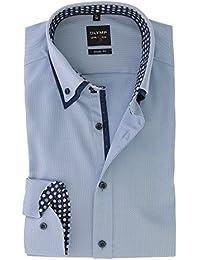 Olymp Herren Body Fit Hemd Level 5 blau weiß gestreift 2052