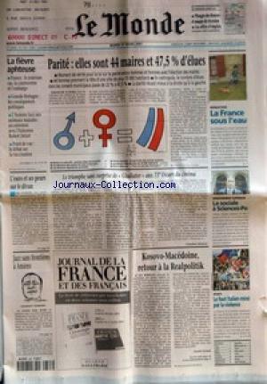 MONDE (LE) [No 17471] du 27/03/2001 - LA FIEVRE APHTEUSE
