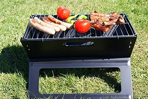 Barbecue-Elektrogrill schwarz, Holaroses Klappgrill-Campinggrill-Tischgrill-Picknick-Grill-Laptopgrill-Faltgrill-BBQ