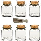 Viva Haushaltswaren - 6 x Gewürzglas eckig 200 ml, Glasdose mit Korkverschluss als Gewürzdose & Vorratsdose für Gewürze, Salz etc. verwendbar (inkl. kleiner Holzschaufel 7,5 cm)