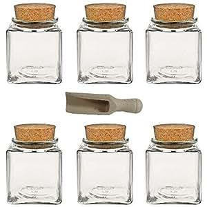 viva haushaltswaren 6 x gew rzglas eckig 200 ml glasdose. Black Bedroom Furniture Sets. Home Design Ideas